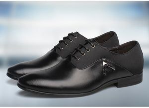 Cool Men Oxford Shoes with Combination Leather and Canvas - FanFreakz