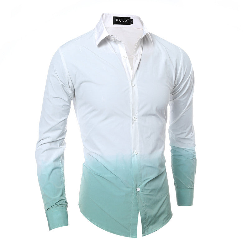 Men Gradient Long Sleeve Shirt - FanFreakz