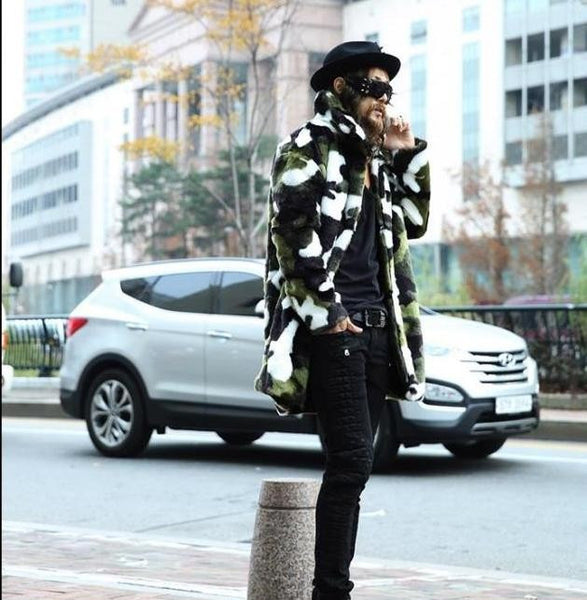Faux Rabbit Fur Camouflage Coat Jacket