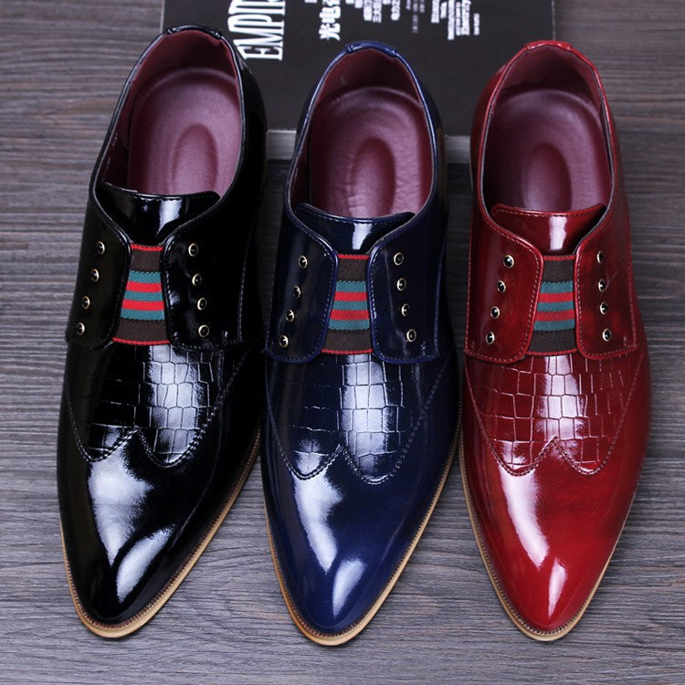 Slip On Style Men Dress Shoes with Croco PU Leather Detail Details - FanFreakz