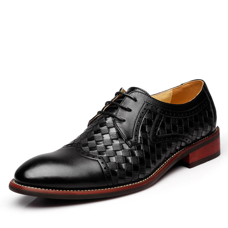 Woven Patched Brogue Men Formal Dress Shoes - FanFreakz