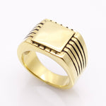 Men's High Polished Signet Solid Stainless Steel Ring 316L Stainless Steel with Gold Color - FanFreakz