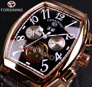 Forsining Date Month Display | Men Rose Gold Tourbillon Watch - FanFreakz