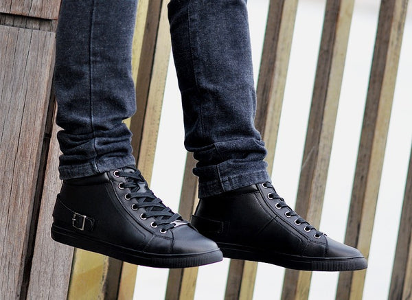 High Top Sneakers Shoes With Side Buckle Details - FanFreakz