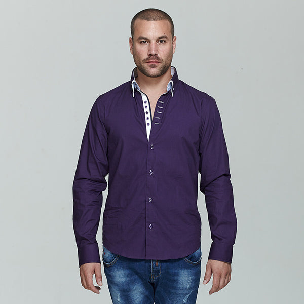 Italian Double Collar Style Men Long Sleeves Slim Fit Shirts - FanFreakz