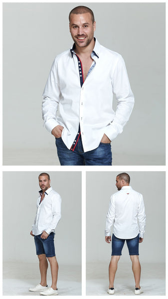 Italian Double Collar Style Men Long Sleeves Slim Fit Shirts