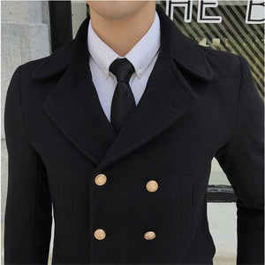 Double Breasted Turn Down Collar Men Wool Blend Slim Coat - FanFreakz
