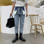 Reverse Style Retro High Waist Casual Men Jeans