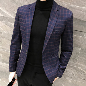 Elegant British Plaid Style Slim Fit Men Blazer - FanFreakz