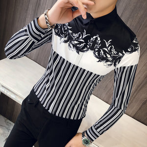 Contrast Black White Stripe with Floral Print Men Slim Fit Shirt - FanFreakz