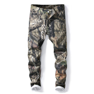 Army Nature Tree Camo Print Men Slim Fit Jeans - FanFreakz