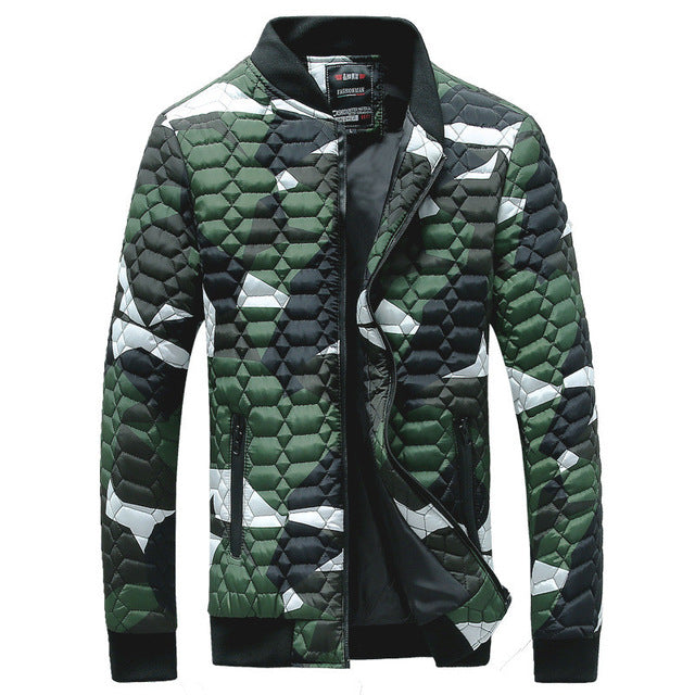 Diamond Quilted Camouflage Printed Men Bomber Jacket - FanFreakz