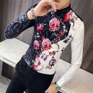 Contrast Color Patchwork Floral Print Pattern Men Slim Fit Long Sleeves Shirt - FanFreakz