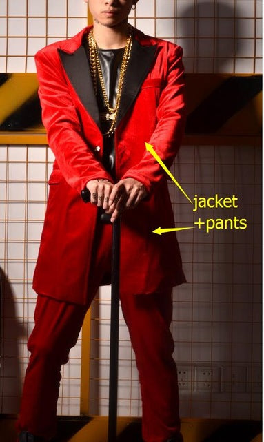 Red Velvet White Lapel Men Long Blazer with Pants Optional For Stage Performance