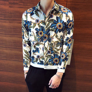 Blind Placket Floral Men Patch Pocket Long Sleeves Shirt - FanFreakz