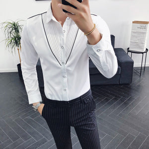 Contrast Piping V Shape Pleating Men Slim Fit Long Sleeves Shirt - FanFreakz