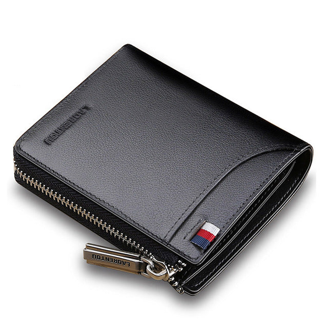 Zip Closure Mini Men Genuine Leather Wallet