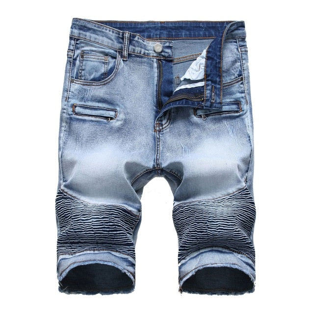 High Street Pleated Denim Punk Casual Style Men Shorts