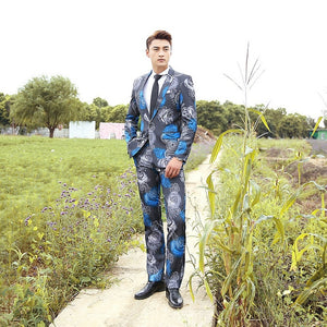 Blue Grey Rose Pattern Men Slim Fit Suit Set - FanFreakz