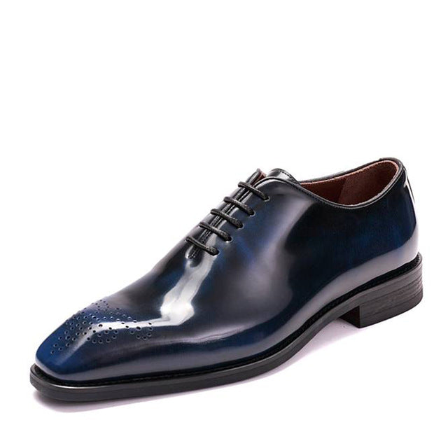 Perforated Toe Whole Cut Oxfords Italian Style Handmade Men Shoes