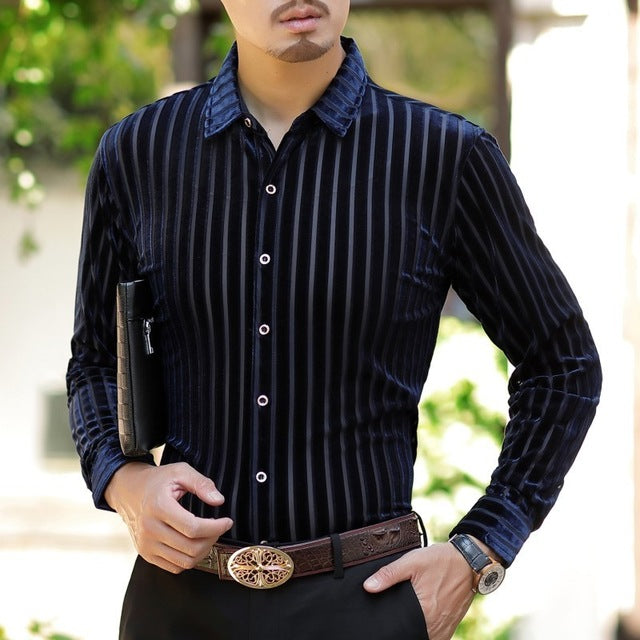Elegant Stripe Men Business Style Velvet Slim Shirt - FanFreakz