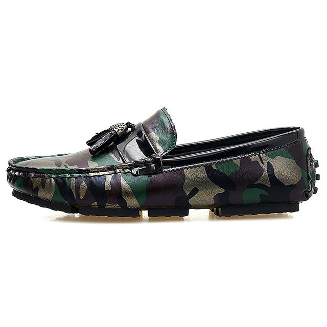 Tasseled Camouflage Men Moccasin Shoes