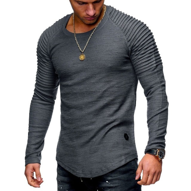 Pleated Shoulder Fit Muscle Style Men Long Sleeves T-Shirt