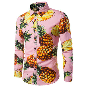 Pineapple Print Men Slim Fit Long Sleeves Shirt - FanFreakz
