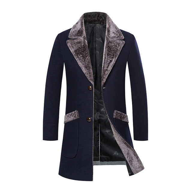 Long Woolen Fur Lapel Collar Warm Men Mid Length Coat Jacket