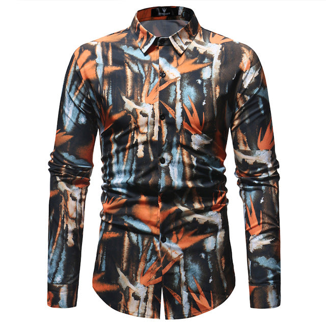 Abstract Floral Paint Pattern Print Men Slim Fit Long Sleeves Shirt - FanFreakz