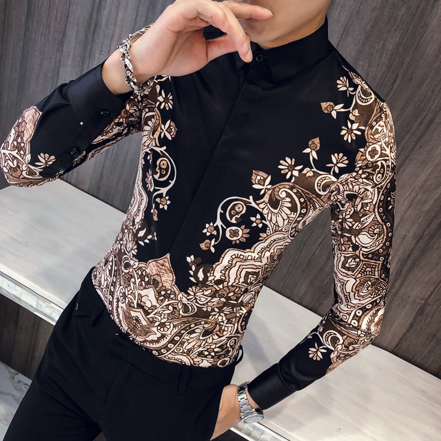 Luxury Batik Art Pattern Print Men Slim Fit Long Sleeves Shirt