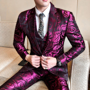 Violet Rose Pattern Men Suit Set, Jacket, Vest and Pant