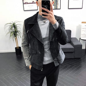Contast Sleeve Slide Zipper Turndown Collar Men Biker Jacket - FanFreakz