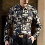 Gold Planting Bird Print Semi See Through Men Velvet Shirt