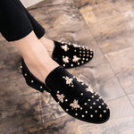 Bee and Rivets Details Men Velvet Loafers Shoes - FanFreakz
