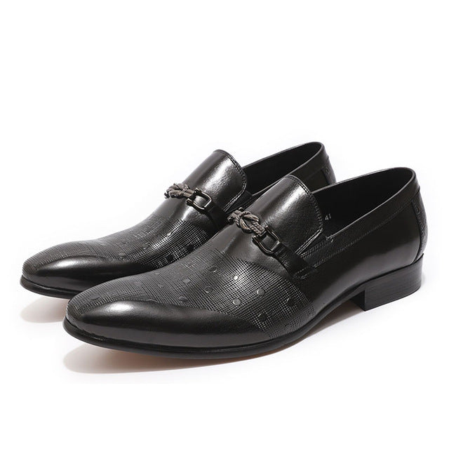 Knot Style Buckle Pointed Toe Men Formal Business Loafers