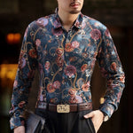 Gold Keychain and Floral Print Euro Style Men Velvet Long Sleeves Shirt