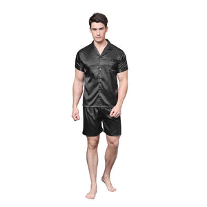 Solid Color Fit Men Satin Silk Pajama Sets Short Sleeves Shirt and Pants