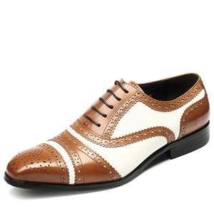 Classic Style Perforated Details with Contrast Color Men Oxford Shoes - FanFreakz