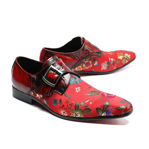 Patchwork Leather and Embroidery Fabric Men Monk Strap Shoes