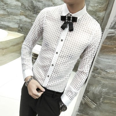 Top Button Ribbon Brooch Detail Men Small Square Transparent Slim Git Shirt