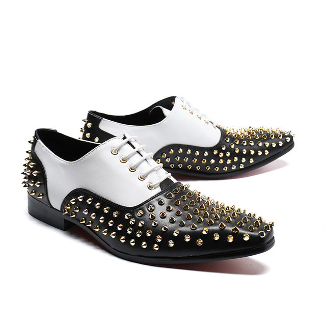 Classic Style Contrast Color Men Oxford Shoes with Rivets Details - FanFreakz