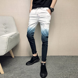 Gradient Skinny Ripped Men Denim Jeans - FanFreakz