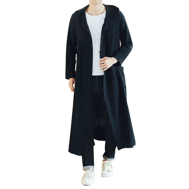 Hooded Harajuku Style Men Long Trench Coat Cardigan Jacket