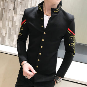 Gold Button Chinese Collar Men Slim Fit Blazer Jacket