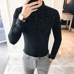 Lace Split Floral Patchwork Detail Men Slim Fit Shirt