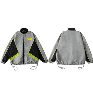 Oversize Retro Color Block Patchwork Windbreaker Casual Style Men Jacket