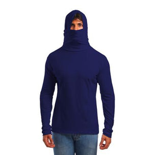 Hooded Mask Japanese Style Man Long Sleeve Pullover Shirt