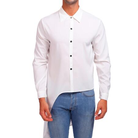 Asymmetry Plain Street Style Men Long Sleeves Shirt - FanFreakz