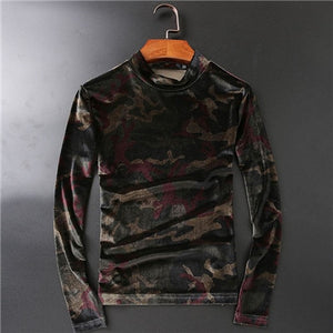 Camouflage Velour Men Turtleneck Sweater - FanFreakz